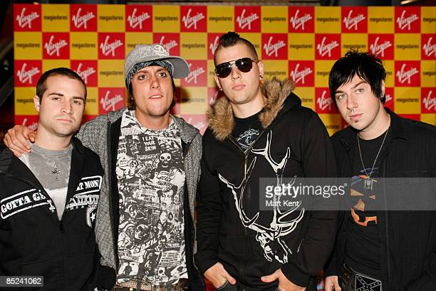 MEGASTORE Photo of M SHADOWS and Zacky VENGEANCE and Synyster GATES and AVENGED SEVENFOLD Group portrait LR Johnny Christ Synyster Gates M Shadows...