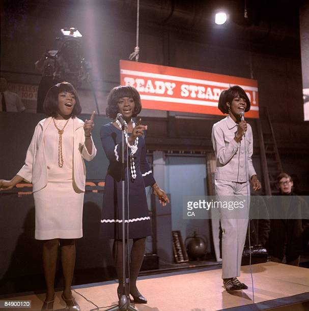 Photo of Martha REEVES and Rosalyn ASHFORD and Martha REEVES The Vandellas and Betty KELLY Group performing on TV Show at Wembley Studios LR Rosalyn...
