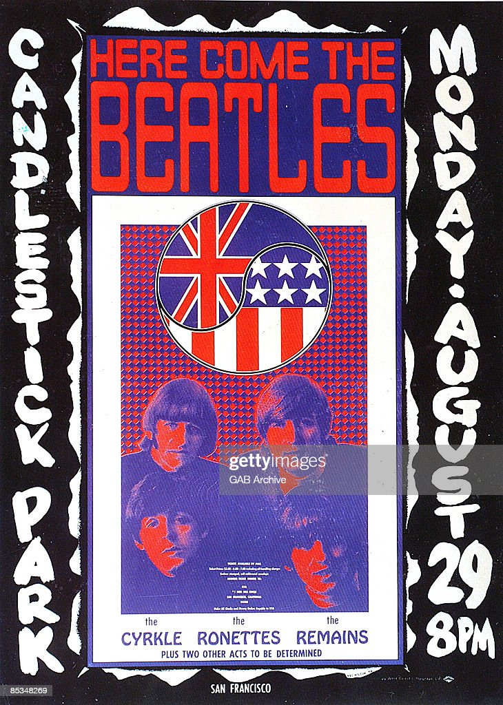 Photo of memorabilia BEATLES and CONCERT POSTERS and BEATLES memorabilia poster for their final concert at Candlestick Park