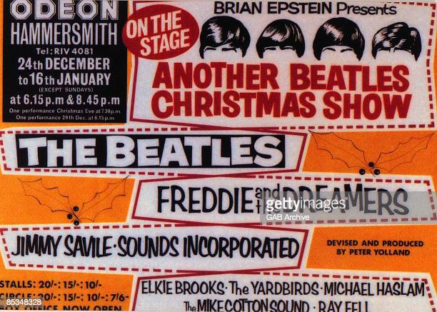Photo of memorabilia BEATLES and CONCERT POSTERS and BEATLES memorabilia poster for their Hammersmith Odeon Christmas show featuring Freddie The...