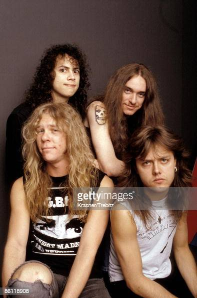 Photo of METALLICA and Cliff BURTON and James HETFIELD and Kirk HAMMETT and Lars ULRICH clockwise from top left Kirk Hammett Cliff Burton Lars Ulrich...