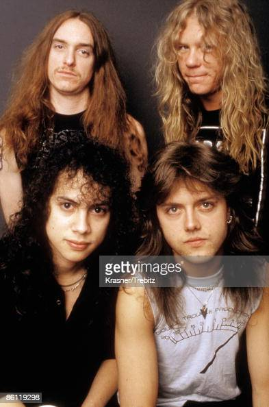 Photo of METALLICA and Cliff BURTON and James HETFIELD and Kirk HAMMETT and Lars ULRICH top Cliff Burton James Hetfield bottom Kirk Hammett Lars...