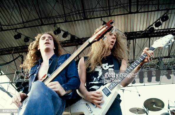 Photo of METALLICA and James HETFIELD and Cliff BURTON Cliff Burton and James Hetfield performing on stage