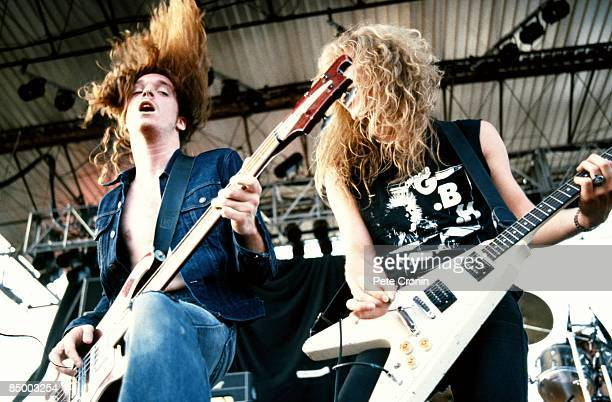Photo of METALLICA and James HETFIELD and Cliff BURTON Cliff Burton and James Hetfield performing live onstage