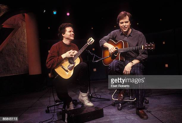 Photo of Michael HEDGES and Leo KOTTKE w/Michael Hedges at VH1 in New York City