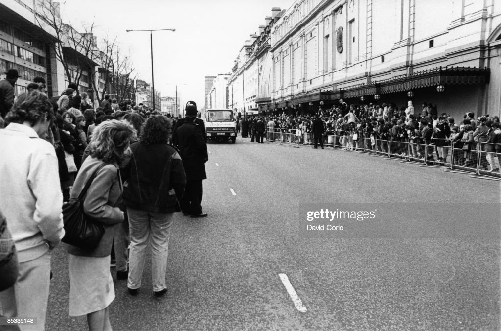 Photo of Michael JACKSON Michael Jackson fans and the media wait outside Madame Tussauds Wax Museum on Baker Street