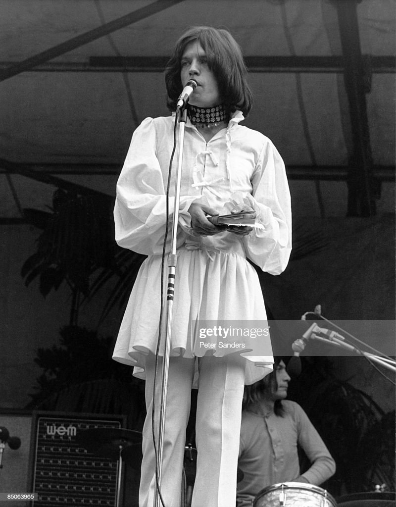 Photo of Mick JAGGER and ROLLING STONES; Mick Jagger performing live onstage at free Hyde Park Concert, reading from 'Adonais', by Percy Shelley