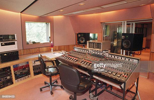 STUDIOS Photo of MIXING DESK vintage analogue mixing desk in control room of penthouse studio at Abbey Road showing monitor speakers and outboard...