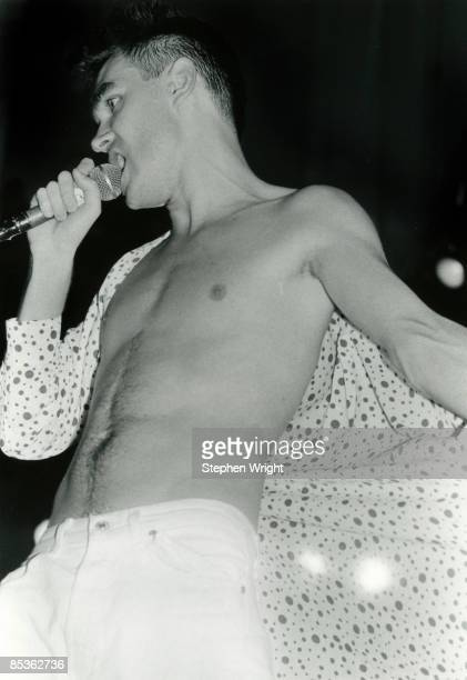 GMEX Photo of MORRISSEY and The Smiths Morrissey performing live onstage at 10th Summer Concert with shirt open
