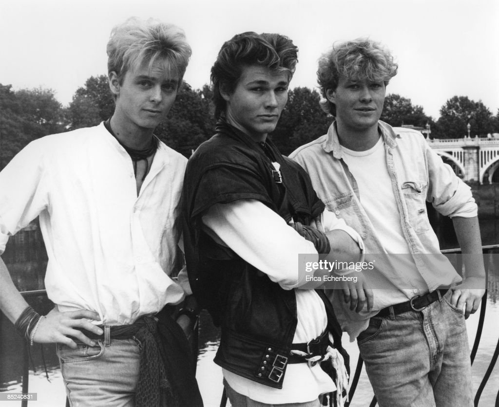Photo of Morten HARKET and A-HA and Pal WAAKTAAR and Mags FURUHOLMEN; L-R. Pal Waaktaar, <a gi-track='captionPersonalityLinkClicked' href=/galleries/search?phrase=Morten+Harket&family=editorial&specificpeople=675547 ng-click='$event.stopPropagation()'>Morten Harket</a>, Mags Furuholmen at Pete Townshend's 'Eel Pie Studios'