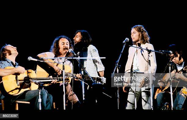 STADIUM Photo of Neil YOUNG and CROSBY STILLS NASH YOUNG and Joni MITCHELL and Stephen STILLS LR Neil Young Joni Mitchell Graham Nash David Crosby...