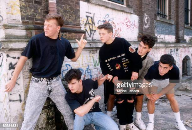 Photo of NEW KIDS ON THE BLOCK and Jordan KNIGHT and Donnie WAHLBERG and Joey McINTYRE and Jonathan KNIGHT Posed group portrait LR Donnie Wahlberg...