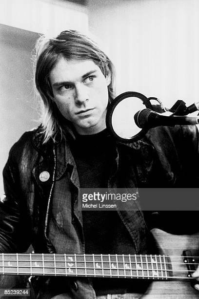 HILVERSUM Photo of NIRVANA and Kurt COBAIN Kurt Cobain recording in Hilversum Studios playing bass guitar