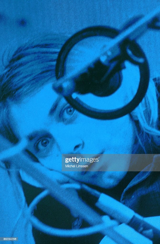 HILVERSUM Photo of NIRVANA, Kurt Cobain, posed, looking to camera, recording in Hilversum Studios