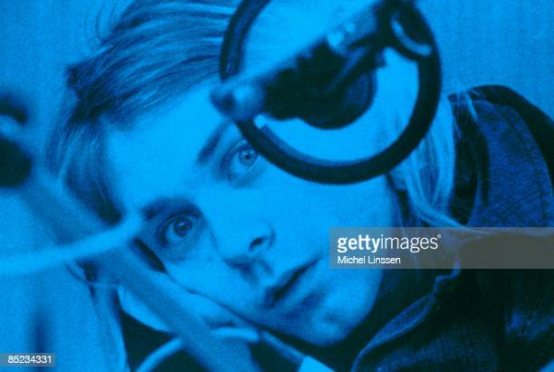 HILVERSUM Photo of NIRVANA Kurt Cobain posed looking to camera recording in Hilversum Studios