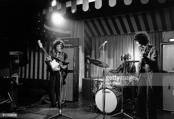 MARQUEE Photo of Noel REDDING and Jimi HENDRIX Jimi Hendrix Experience LR Jimi Hendrix Mitch Mitchell Noel Redding performing live onstage filming...