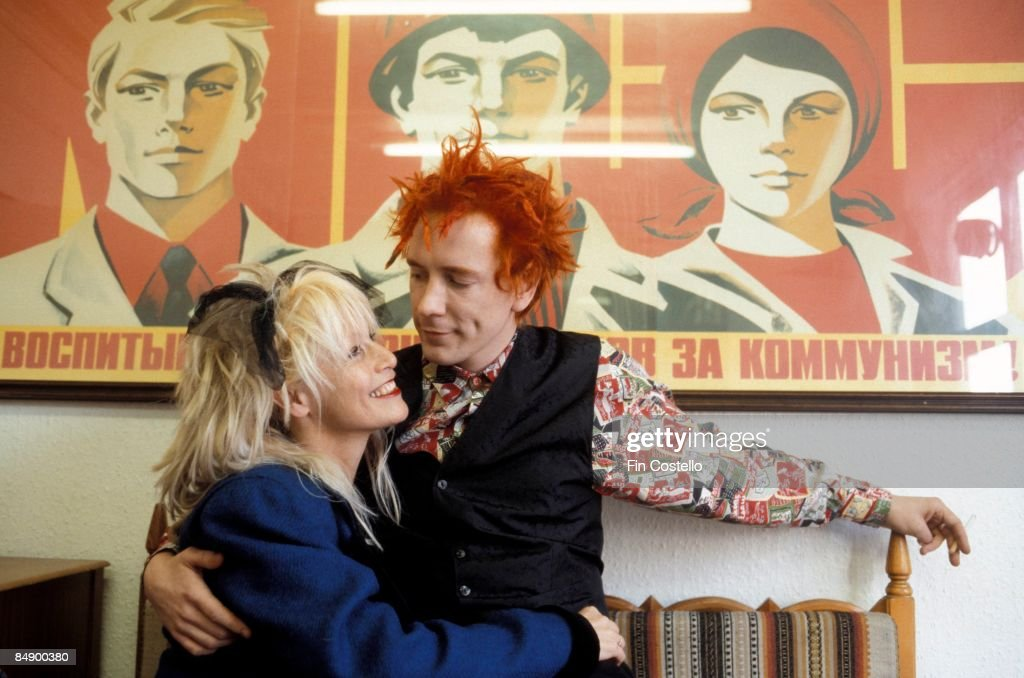 Photo of Nora FORSTER and John LYDON and Johnny ROTTEN; posed with his wife Nora Forster