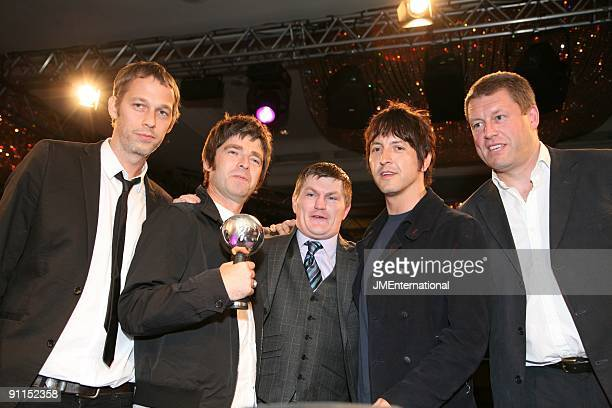 AWARDS Photo of OASIS and Andy BELL and Noel GALLAGHER and Ricky HATTON and Gem ARCHER Oasis with the Lifetime Achievement Award at the Silver Clef...