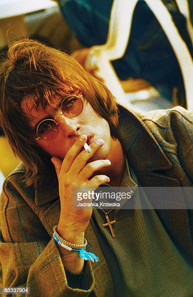 PARK Photo of OASIS and Liam GALLAGHER Portrait of Liam Gallagher sunglasses smoking cigarette