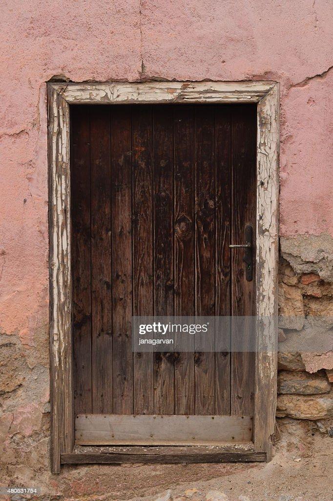 Photo of old wooden door in Ohrid city : Stock Photo