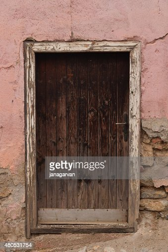 Photo of old wooden door in Ohrid city : Stock Photo