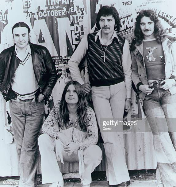 Photo of Ozzy OSBOURNE and BLACK SABBATH LR Bill Ward Ozzy Osbourne Tony Iommi Geezer Butler posed group shot c1975