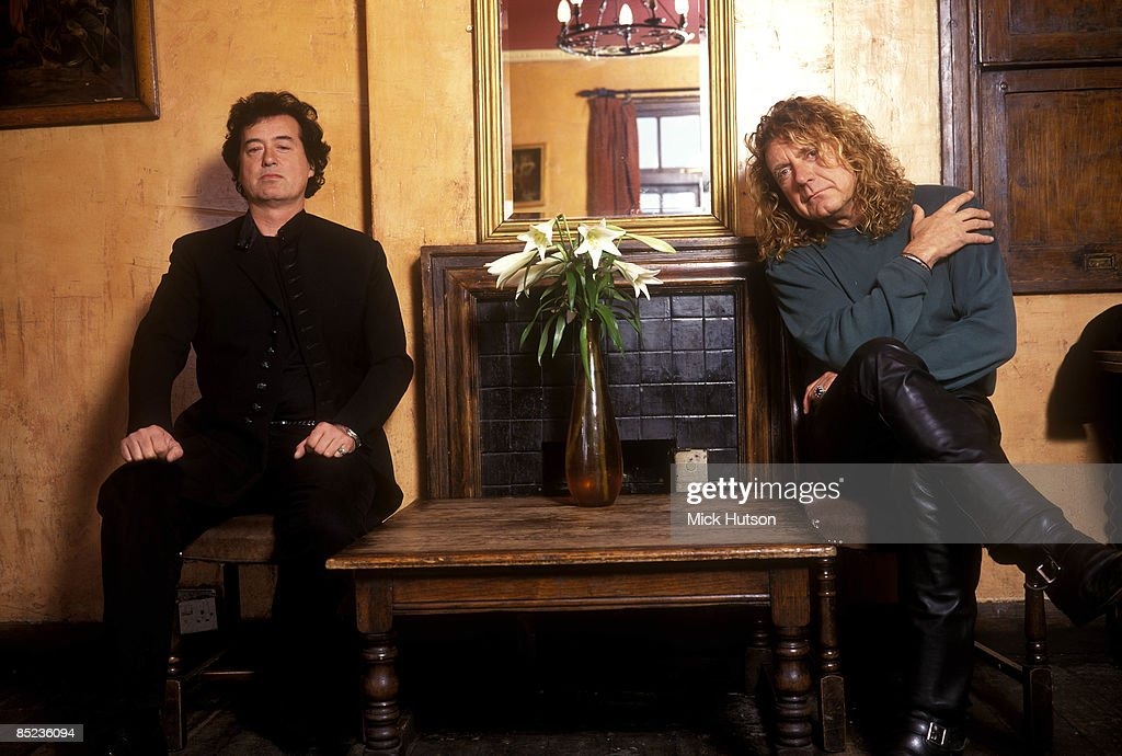 Photo of PAGE & PLANT and Jimmy PAGE and Robert PLANT and LED ZEPPELIN; Page & Plant - L-R: Jimmy Page and Robert Plant of Led Zeppelin - posed, studio