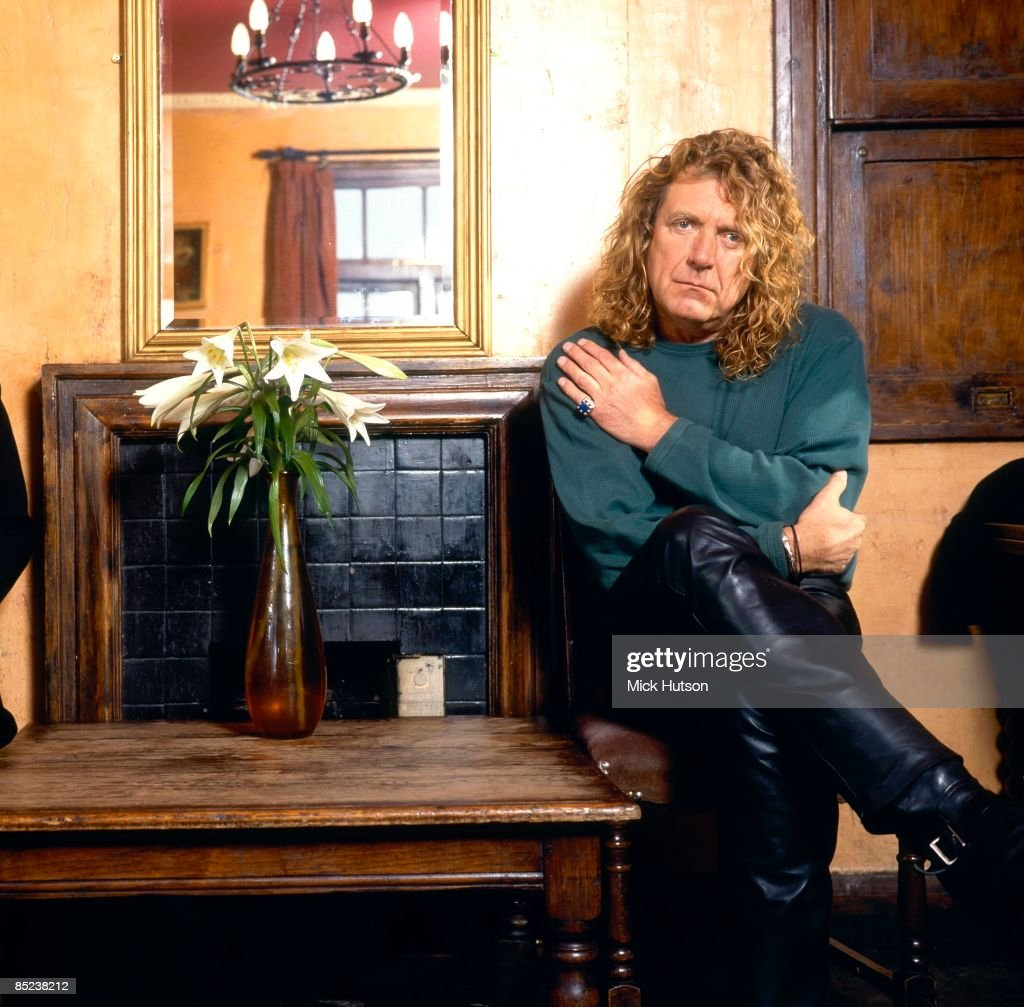 Photo of PAGE & PLANT and LED ZEPPELIN and Robert PLANT; posed, studio of Led Zeppelin