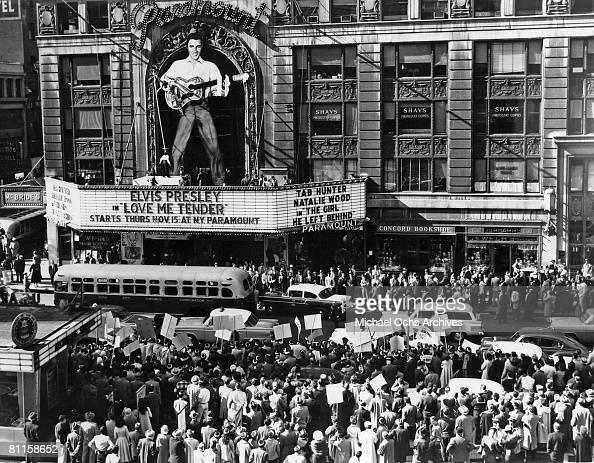 Photo of Paramount Theater advertising the Elvis Presley film 'Love Me Tender'