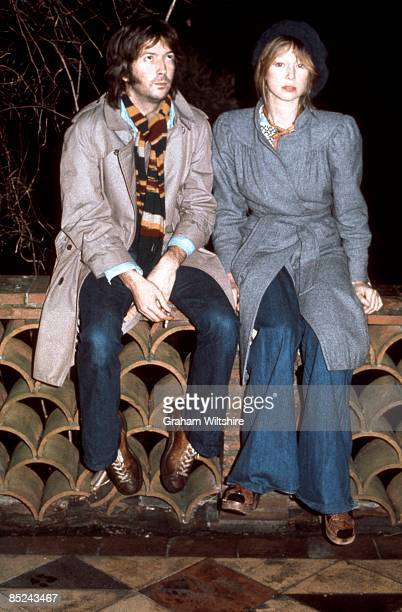 Photo of Patti BOYD and Eric CLAPTON with Patti Boyd posed at home in Ewhurst Surrey