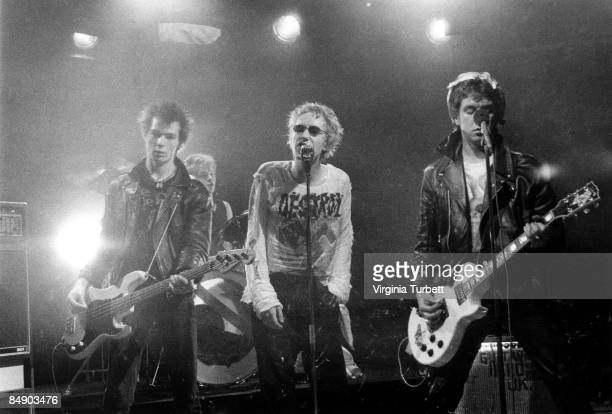 Photo of Paul COOK and SEX PISTOLS and Sid VICIOUS and Johnny ROTTEN LR Sid Vicious Paul Cook Johnny Rotten Steve Jones performing on set of 'Pretty...