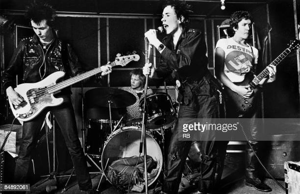 Photo of Paul COOK and Steve JONES and Sid VICIOUS and SEX PISTOLS and Johnny ROTTEN LR Sid Vicious Paul Cook Johnny Rotten and Steve Jones performing