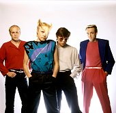 Photo of Paul REYNOLDS and Ali SCORE and Frank MAUDSLEY and FLOCK OF SEAGULLS and Mike SCORE LR Ali Score Mike Score Paul Reynolds Frank Maudsley...
