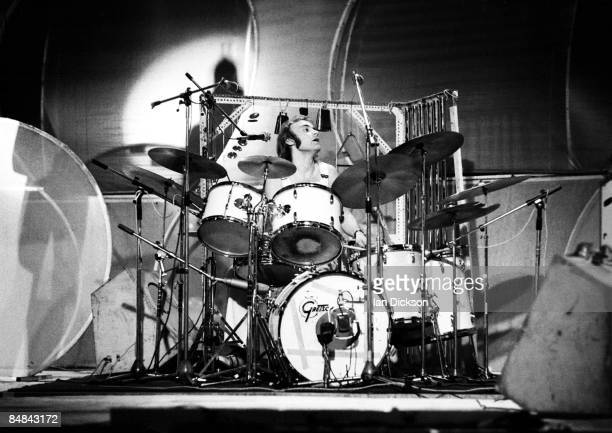 HALL Photo of Phil COLLINS and GENESIS Phil Collins performing live onstage playing Gretsch drums