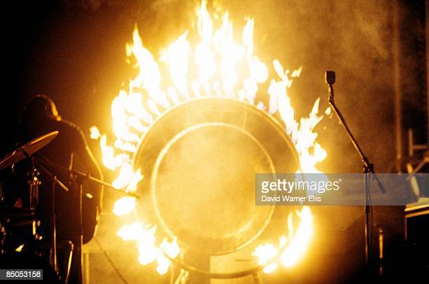 COURT Photo of PINK FLOYD gong on fire onstage at SHELTER benefit concert on 'Dark Side Of The Moon' tour