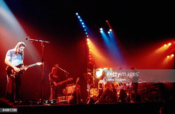 Photo of PINK FLOYD LR Dave Gilmour Snowy White Nick Mason Roger Waters performing live onstage on In The Flesh tour at New Bingley Hall Stafford