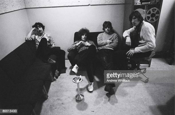 Photo of PINK FLOYD LR Nick Mason Syd Barrett Rick Wright Roger Waters posed group shot in recording studio control room