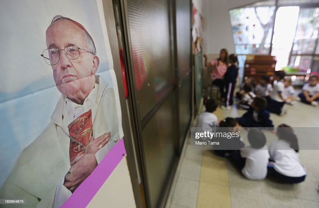 A photo of Pope Francis hangs in a classroom in the Instituto Nuestra Senora del Huerto Catholic school, founded in 1872, which Pope Francis visited, on March 18, 2013 in Buenos Aires, Argentina. Francis was the archbishop of Buenos Aires and is the first Pope to hail from South America. Francis will be officially installed as Pope tomorrow at Saint Peter's Square.