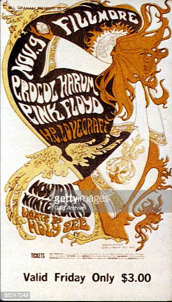 USA Photo of PROCOL HARUM and PINK FLOYD and CONCERT POSTERS Pink Floyd Procol Harum HP Lovecraft concert poster for cancelled west coast US tour...