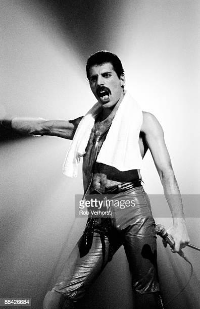 Photo of QUEEN Freddie Mercury performing live on stage at Groenoordhallen Lieden