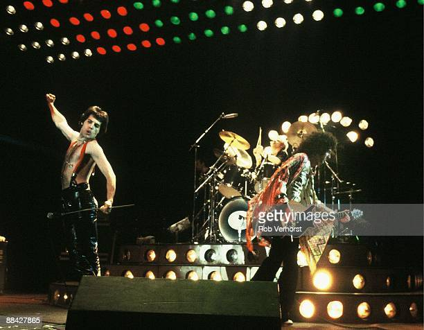 AHOY Photo of QUEEN LR Freddie Mercury Roger Taylor Brian May performing live on stage