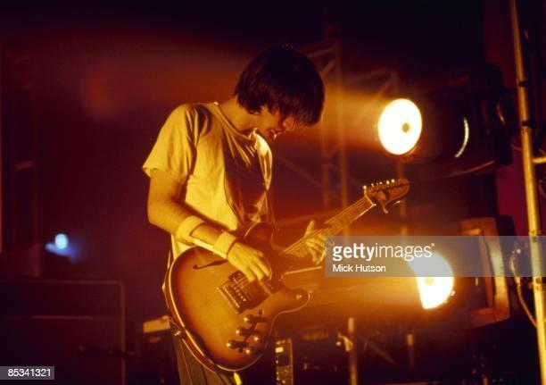 Photo of RADIOHEAD and Jonny GREENWOOD Jonny Greenwood performing live onstage playing Fender Starcaster wearing arm brace