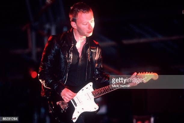 Photo of RADIOHEAD and Thom YORKE Thom Yorke performing live onstage playing Fender Jazzmaster guitar