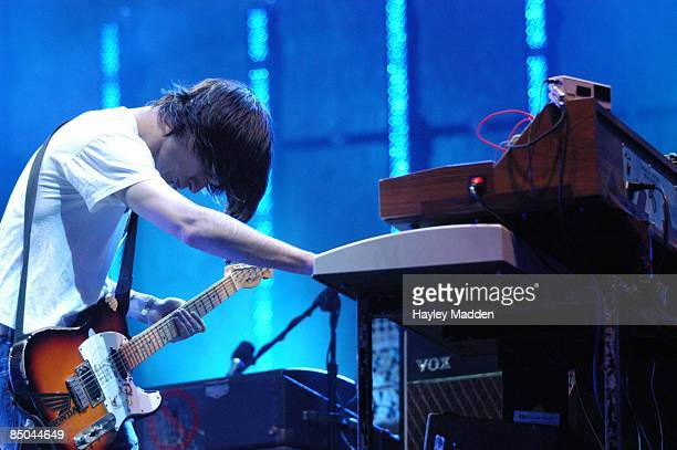 FESTIVAL Photo of RADIOHEAD Jonny Greenwood performing live on stage playing keyboard