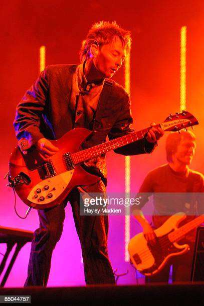 FESTIVAL Photo of RADIOHEAD Thom Yorke performing live onstage playing Rickenbacker 330 guitar