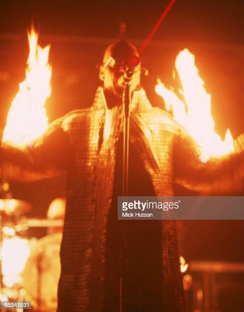 Photo of RAMMSTEIN and Till LINDEMANN Till Lindemann performing live onstage flames fire