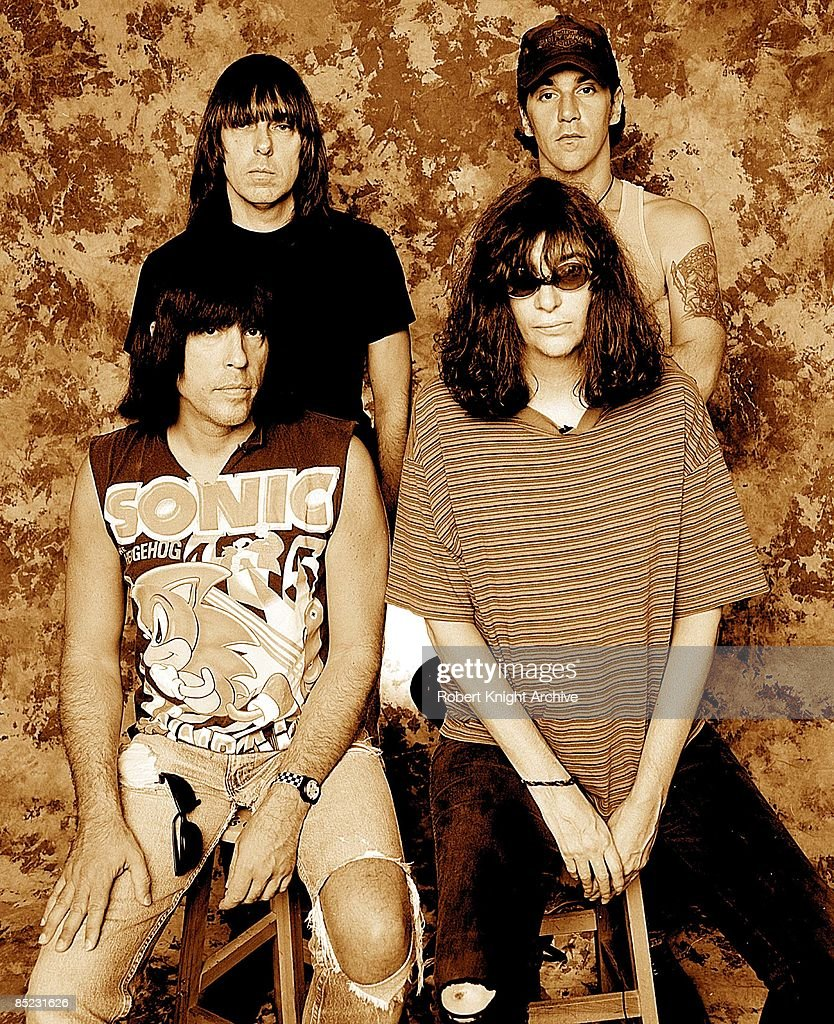 Photo of RAMONES and Johnny RAMONE and C.J. RAMONE and Marky RAMONE; Back row: Johnny Ramone (left), C.J. Ramone (right). Front: Marky Ramone (left), Joey Ramone