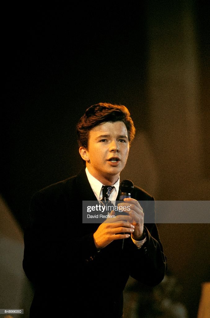 Photo of Rick ASTLEY performing live on stage circa 1987.