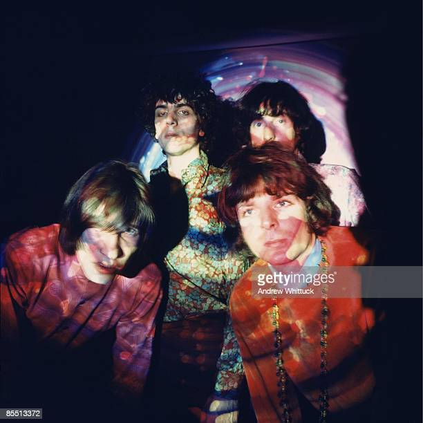 Photo of Rick WRIGHT and PINK FLOYD and Syd BARRETT and Roger WATERS Back LR Syd Barrett Nick Mason Front LR Roger Waters Rick Wright posed group shot
