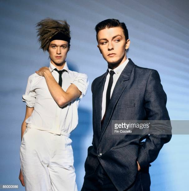 Photo of Ricky GERVAIS and SEONA DANCING Bill Macrae and Ricky Gervais from Seona Dancing posed in London in August 1983